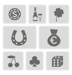 Icons with symbols of gambling vector