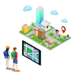 Isometric Mobile Navigation in the City vector image