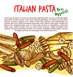 italian pasta shapes poster with spaghetti sketch vector image