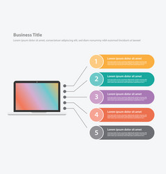 Laptop computer infographic with list detail vector
