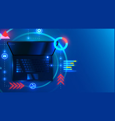 laptop on space blue background with infographics vector image