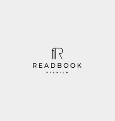 Letter r book read logo design vector