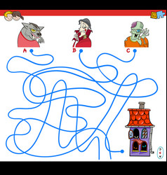 Lines maze game with halloween characters vector
