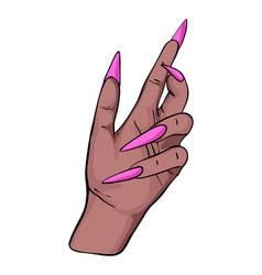 Long nails manicure women hand black skin acrylic vector