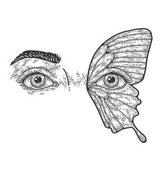 Makeup two female eyes butterfly drawing sketch vector