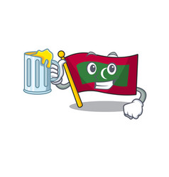Mascot flag maldives with in holding juice vector