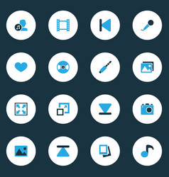 Media colorful icons set collection of eject vector