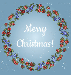 merry christmas lettering in a wreath of red and vector image