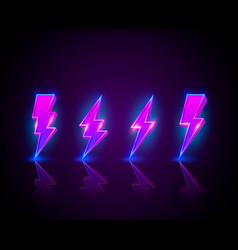Neon sign lightning signboard on black vector