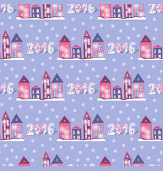 New year background with cute houses seamless vector