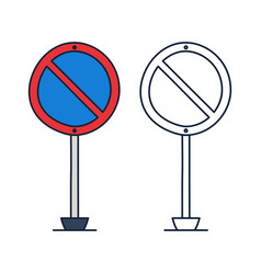 no parking circle road sign icon in doodle vector image