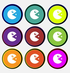 pac man icon sign Nine multi colored round buttons vector image vector image