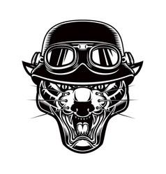Pantera head in biker helmet design element for vector