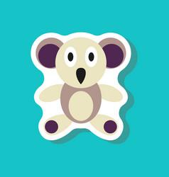 Paper sticker on stylish background koala toy vector