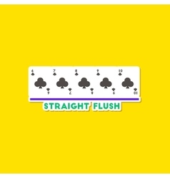 Paper sticker on stylish background poker straight vector