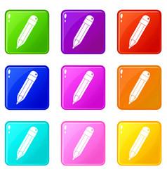 Pencil icons 9 set vector