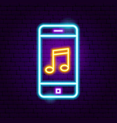 Phone music neon sign vector