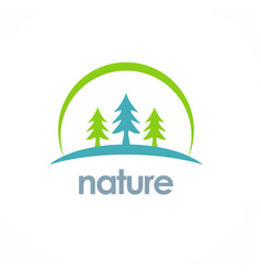pine tree landscape nature logo vector image