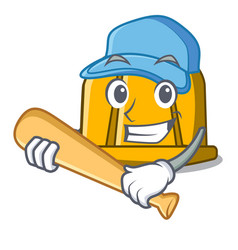 playing baseball construction helmet character vector image