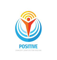 positive business logo template design element vector image
