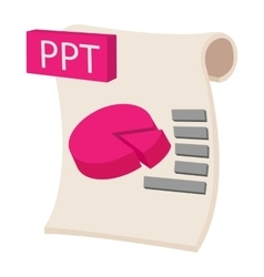 PPT extension text file icon cartoon style vector image