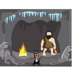 Primitive person in cave vector