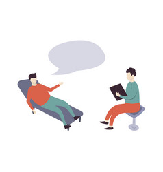 Psychotherapy practice man in seat of vector