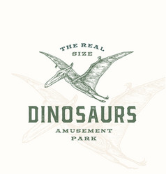 real size dinosaurs amusement park abstract sign vector image
