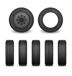 realistic tires set car tires with vector image