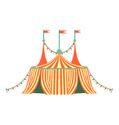Red and yellow stripy circus tent part of vector