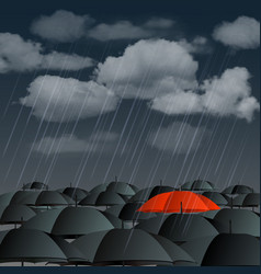 Red umbrella over many dark ones vector image
