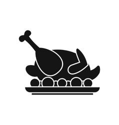 Roasted turkey icon simple style vector