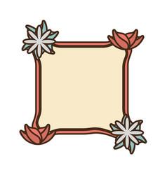 Romantic label ribbon flower decoration vector