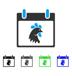 Rooster head calendar day flat icon vector