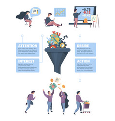 Sales funnel infographic marketing processes vector