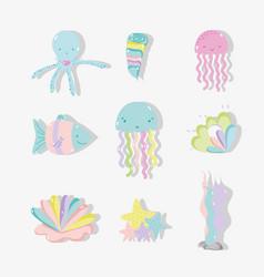 sea animal hand drawing cartoons vector image
