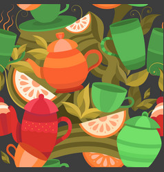 seamless pattern of tea vector image