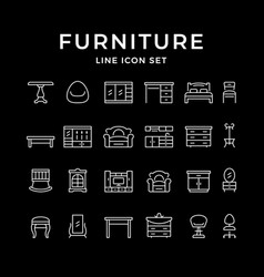 set line icons furniture vector image