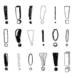 Set of hand drawn sketch exclamation marks vector