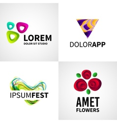 Set of modern creative colorful abstract flower vector image