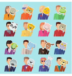 Set of people with animal masks flat design vector