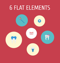 set of tooth icons flat style symbols with alumina vector image