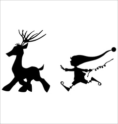 Silhouette running deer and cute christmas elf vector image vector image