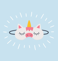 sleep mask in shape a unicorn vector image