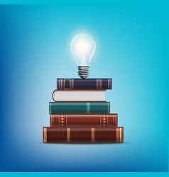 Stack books with a light bulb above vector