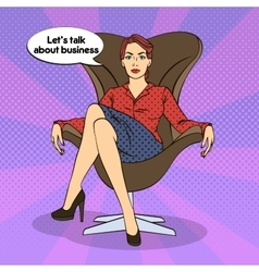 Successful Business Woman Pop Art vector image