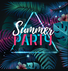 Summer party typography poster with fluorescent vector