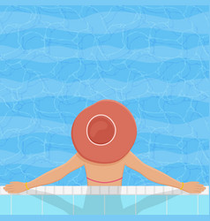 swimming pool with relaxing woman vector image