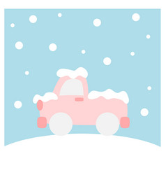 Truck covered with snow - winter flat icon set vector