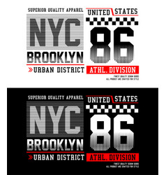 typography nyc brooklyn 86 with race flag vector image